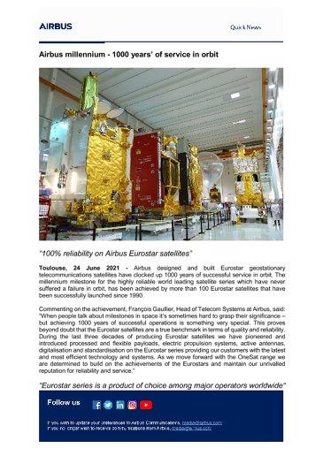 Airbus millennium - 1000 years' of service in orbit