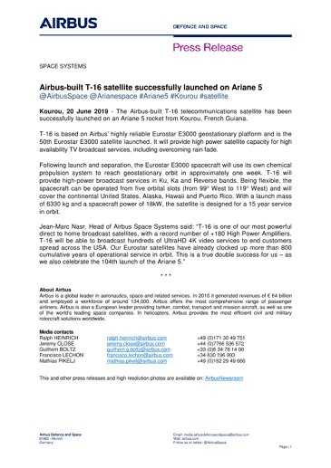 Airbus-built T-16 satellite successfully launched on Ariane 5