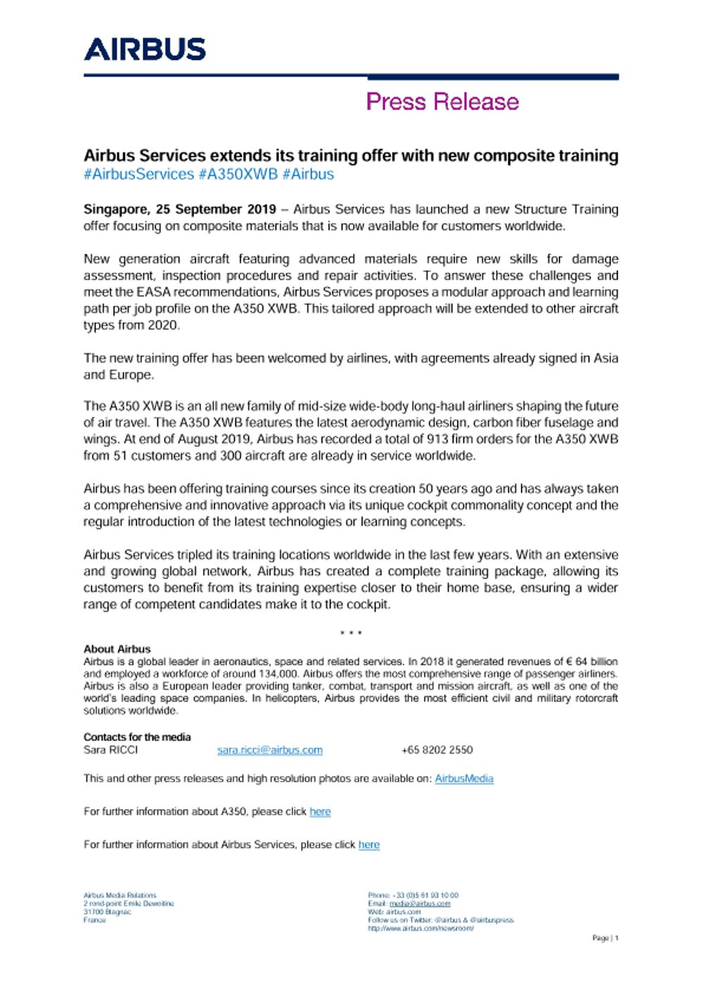 Airbus Services extends its training offer with new composite training