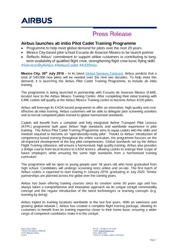 Airbus launches ab initio Pilot Cadet Training Programme