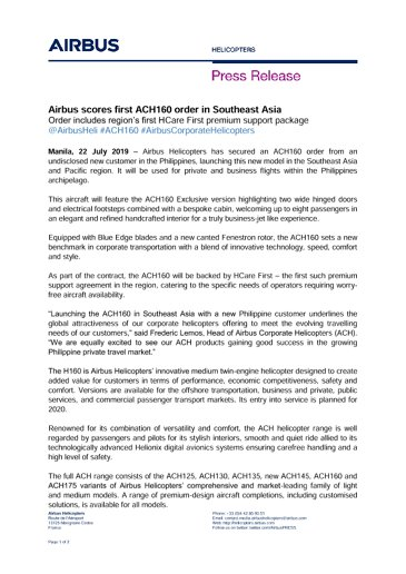 Airbus scores first ACH160 order in Southeast Asia