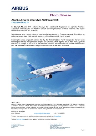 Atlantic Airways orders two A320neo aircraft