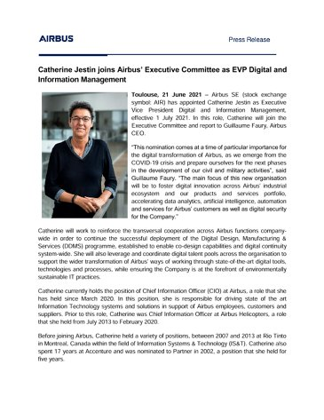 Catherine Jestin joins Airbus' Executive Committee as EVP Digital and Information Management