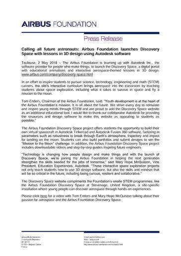 EN-Press Release: Discovery Space Website Press Release