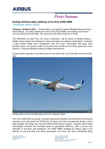 Evelop Airlines takes delivery of its first A350 XWB