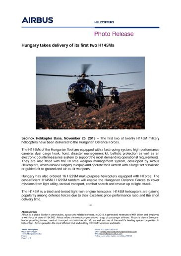 Hungary takes delivery of first two H145Ms