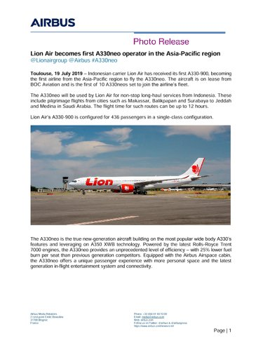 Lion Air becomes first A330neo operator in the Asia-Pacific region