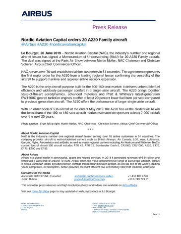 Nordic Aviation Capital orders 20 A220 Family aircraft