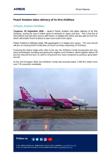 Peach Aviation takes delivery of its first A320neo