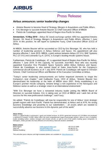 Airbus announces senior leadership changes