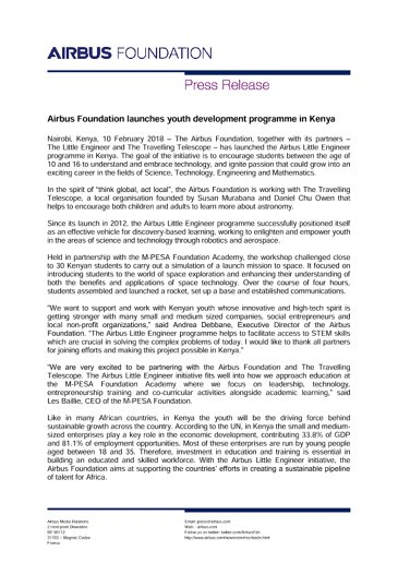 EN-Press-Release: Airbus Foundation Kenya