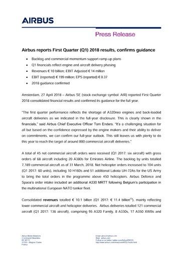 EN-Press Release: Airbus Q1 2018 Results