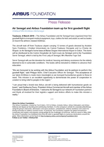 Air Senegal and Airbus Foundation team up for first goodwill flight
