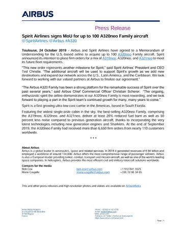 Spirit Airlines signs MoU for up to 100 A320neo Family aircraft