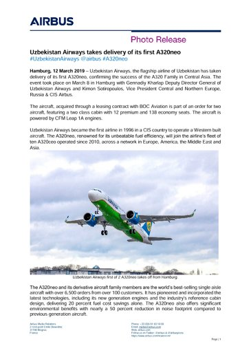 Uzbekistan Airways takes delivery of its first A320neo