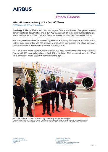 Wizz Air takes delivery of its first A321neo