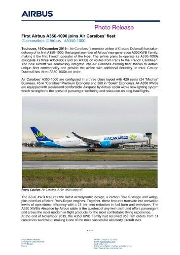 First Airbus A350-1000 joins Air Caraibes' fleet