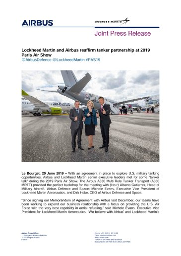 Lockheed Martin and Airbus reaffirm tanker partnership at 2019 Paris Air Show