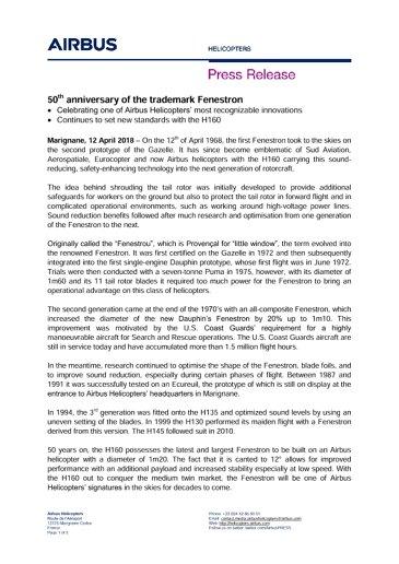 EN 50th anniversary of the trademark Fenestron