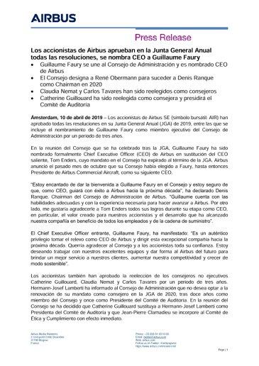 Los accionistas de Airbus aprueban en la Junta General Anual todas las resoluciones, se nombra CEO a Guillaume Faury