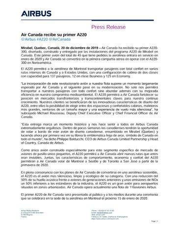 Air Canada recibe su primer A220