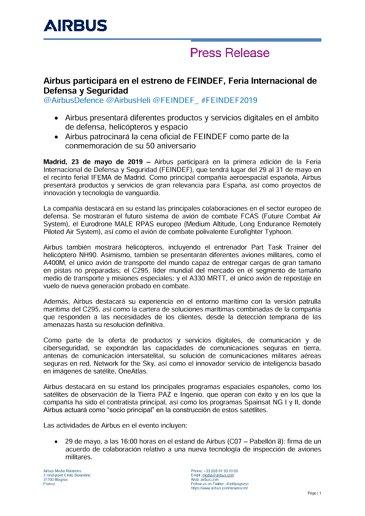 Airbus participará en el estreno de FEINDEF, Feria Internacional de Defensa y Seguridad
