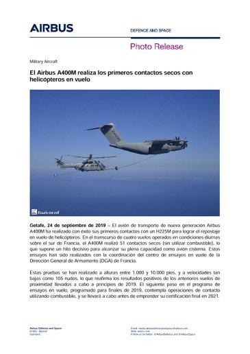 El Airbus A400M realiza los primeros contactos secos con helicópteros en vuelo