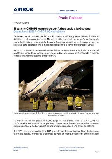 El satélite CHEOPS construido por Airbus vuela a la Guayana