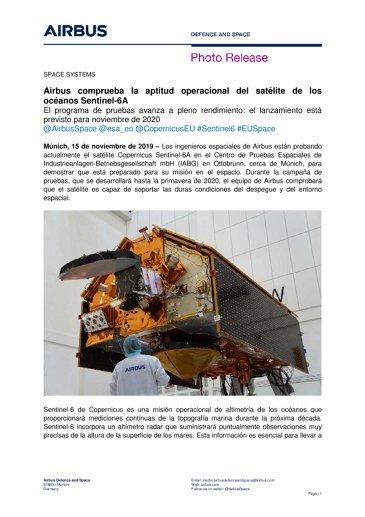 Airbus comprueba la aptitud operacional del satélite de los océanos Sentinel-6A
