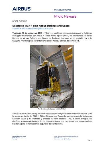 El satélite TIBA-1 deja Airbus Defence and Space