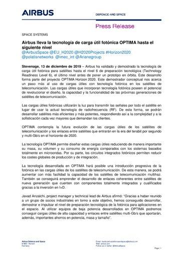 Airbus lleva la tecnología de carga útil fotónica OPTIMA hasta el siguiente nivel