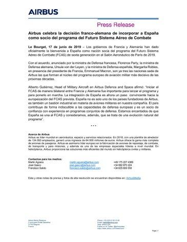 Airbus celebra la decisión franco-alemana de incorporar a España como socio del programa del Futuro Sistema Aéreo de Combate