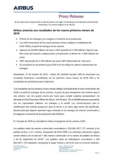Airbus anuncia sus resultados de los nueve primeros meses de 2018