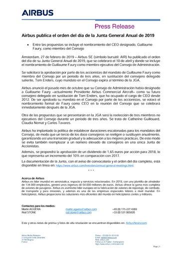 Airbus publica el orden del día de la Junta General Anual de 2019
