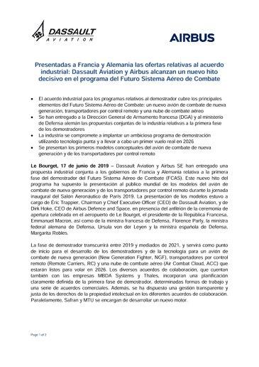Presentadas a Francia y Alemania las ofertas relativas al acuerdo industrial: Dassault Aviation y Airbus alcanzan un nuevo hito decisivo en el programa del Futuro Sistema Aéreo de Combate
