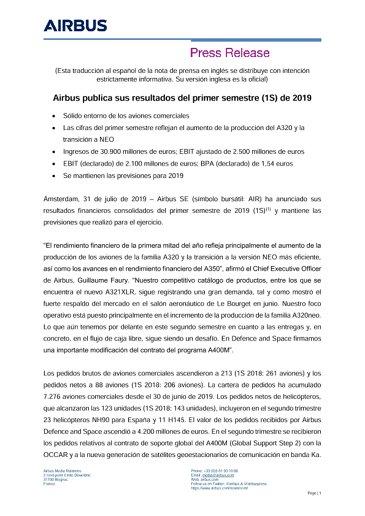 Airbus publica sus resultados del primer semestre (1S) de 2019