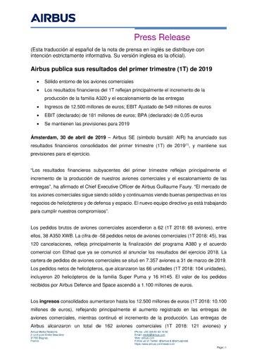 Airbus publica sus resultados del primer trimestre (1T) de 2019