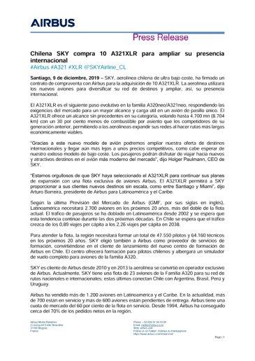 Chilena SKY compra 10 A321XLR para ampliar su presencia internacional