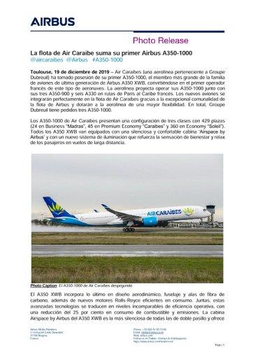La flota de Air Caraibe suma su primer Airbus A350-1000