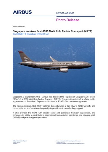 Airbus Delivers RSAF A330 MRTT