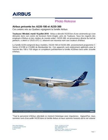 Airbus présente les A220-100 et A220-300