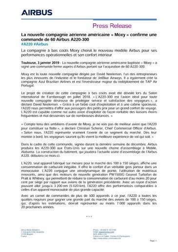 """La nouvelle compagnie aérienne américaine """"Moxy"""" confirme une commande de 60 Airbus A220-300"""