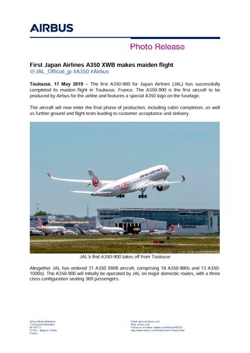 First Japan Airlines A350 XWB makes maiden flight