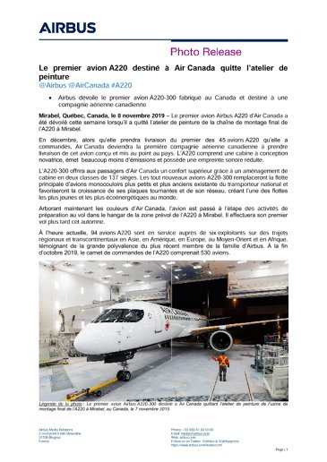 The first A220 for Air Canada rolls out of the painting hangar