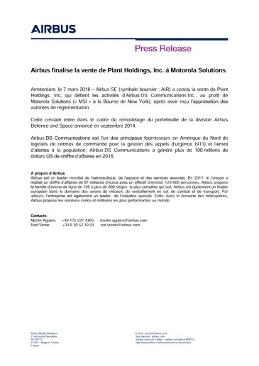 FR - AIR Press Release: Airbus Closes Sale Of Plant Holdings