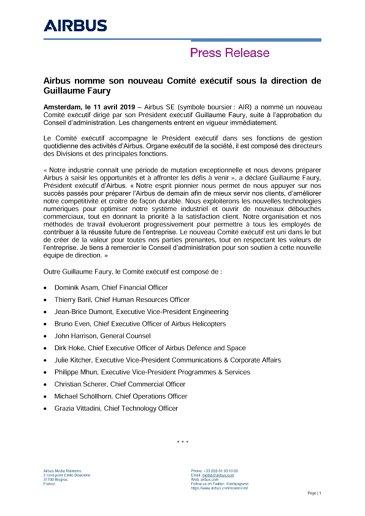 Airbus nomme son nouveau Comité exécutif sous la direction de Guillaume Faury