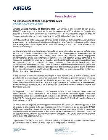 Air Canada réceptionne son premier A220