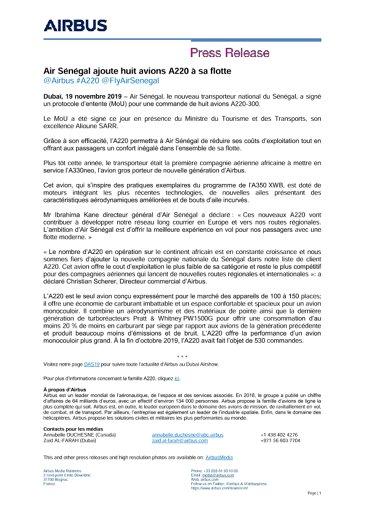 Air Sénégal ajoute huit avions A220 à sa flotte