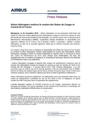 Airbus Helicopters renforce le soutien des flottes de Cougar et Caracal de la France