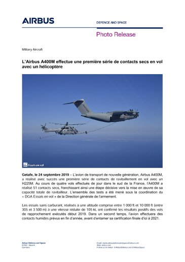 L'Airbus A400M effectue une première série de contacts secs en vol avec un hélicoptère